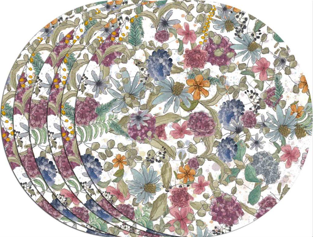 Juego de 6 Bajoplatos personalizados con motivos florales, acuarela de hortensias. De 36 cm. de Ø fabricado en melamina y resistente al lavado en lavavajillas